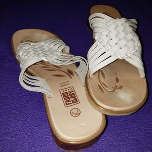 Faded Glory white woven and brown sandals